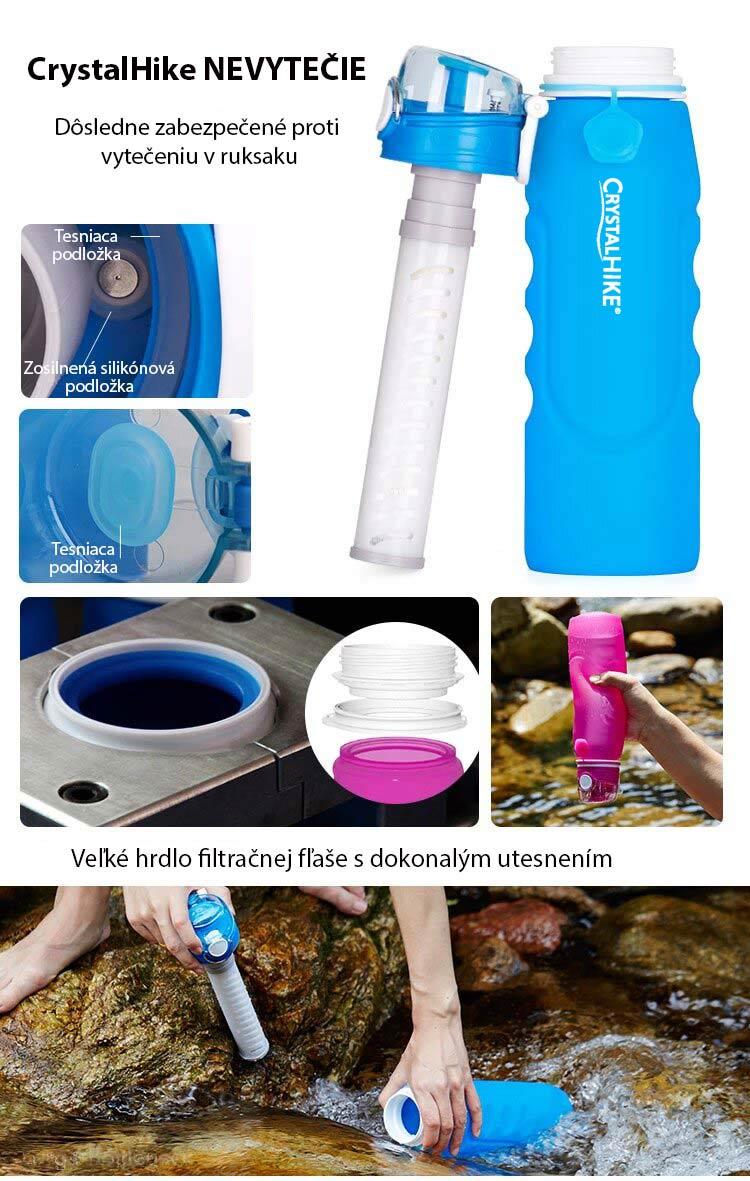 Filtračná fľaška dokáže prefiltrovať vodu z rieky alebo jazera na pitnú