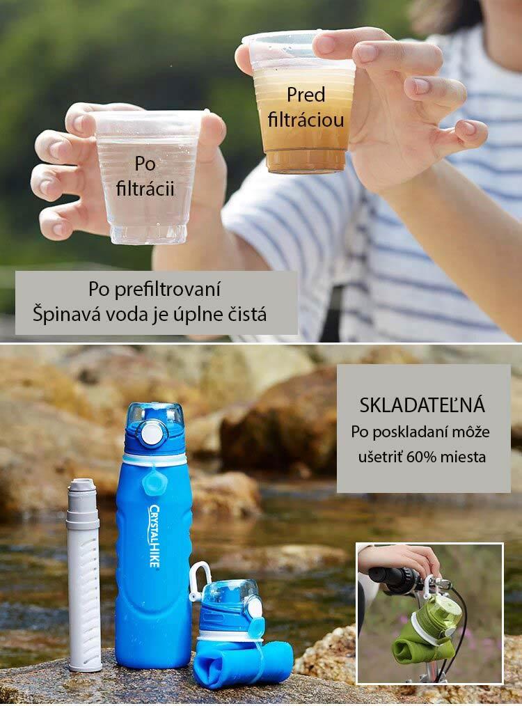 Filtračná fľaška CrystalHIKE prefiltruje vodu z rieky aj jazera na pitnú vodu