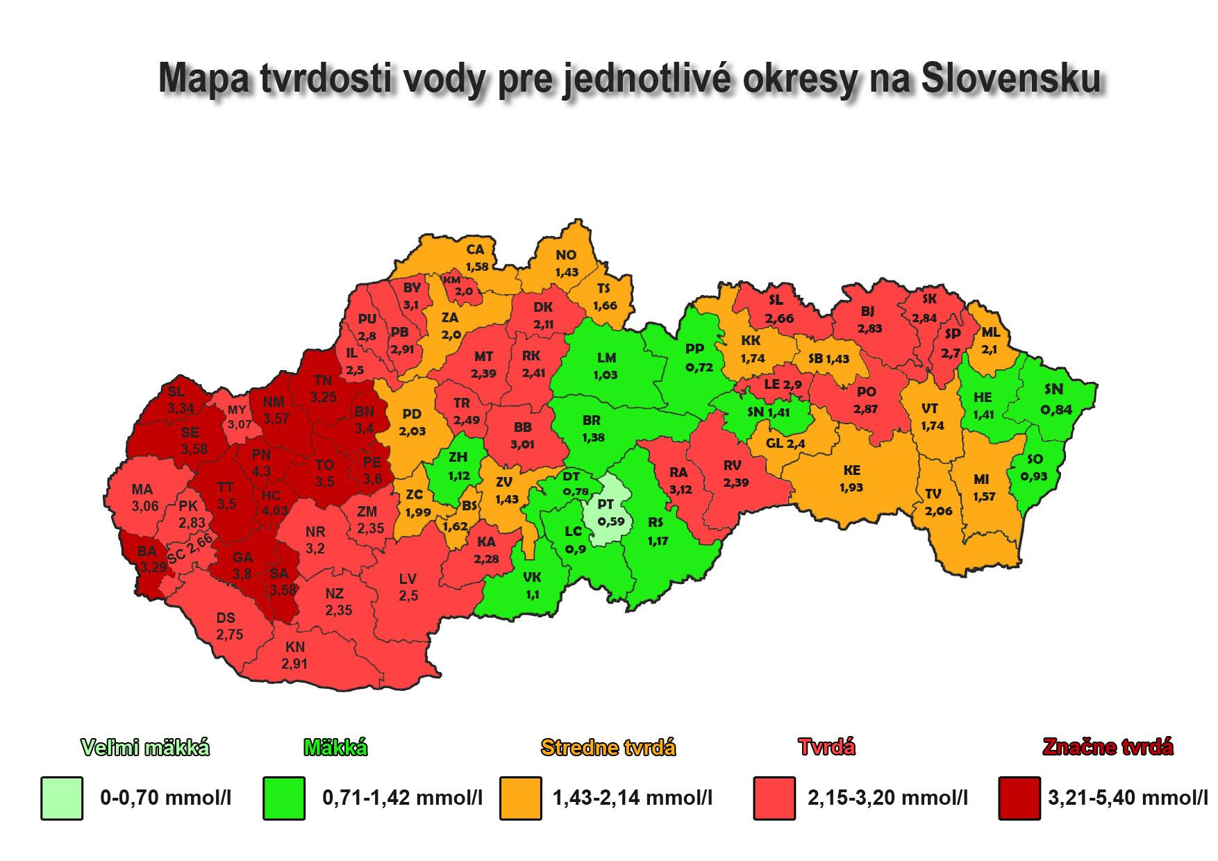 Mapa zobrazuúca tvrdosť vody na Slovensku podľa jednotlivých regiónov
