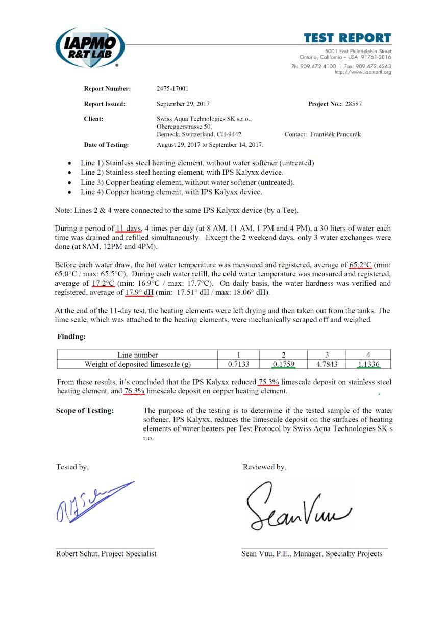 Certifikát účinnosti IPS KalyxX Industry